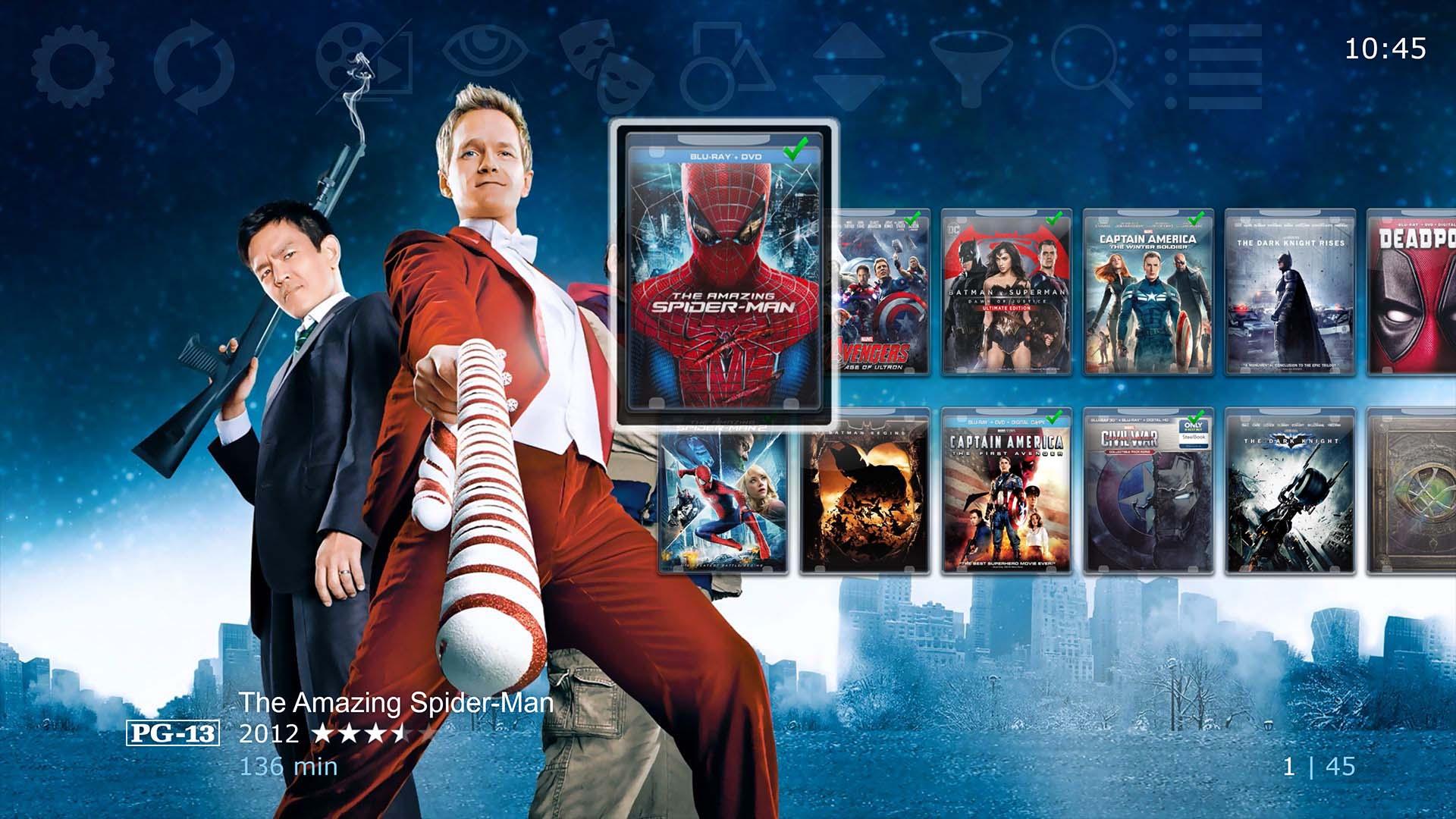 Chameleon MediaCenter Movie Library in 2-Cover Row mode