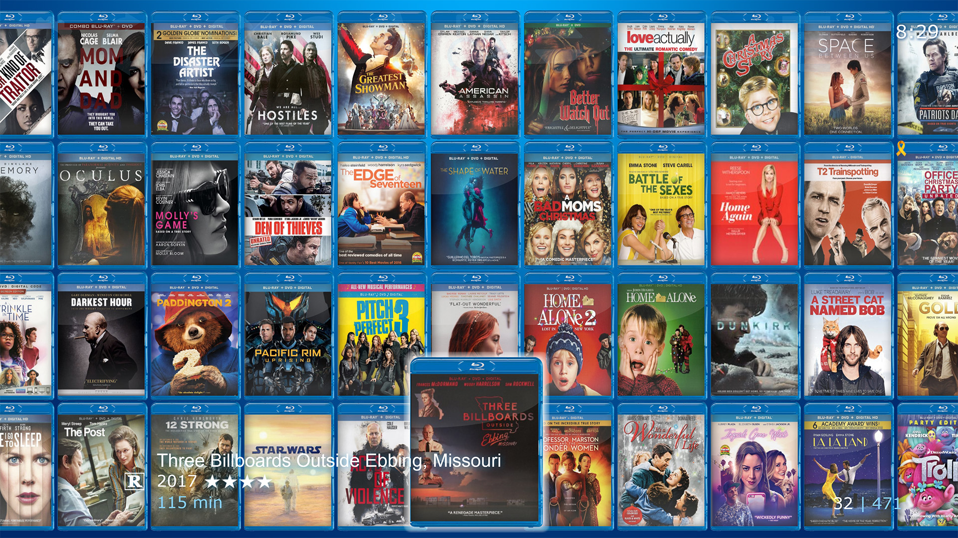 Chameleon MediaCenter Movie Library in 4-Cover Row mode