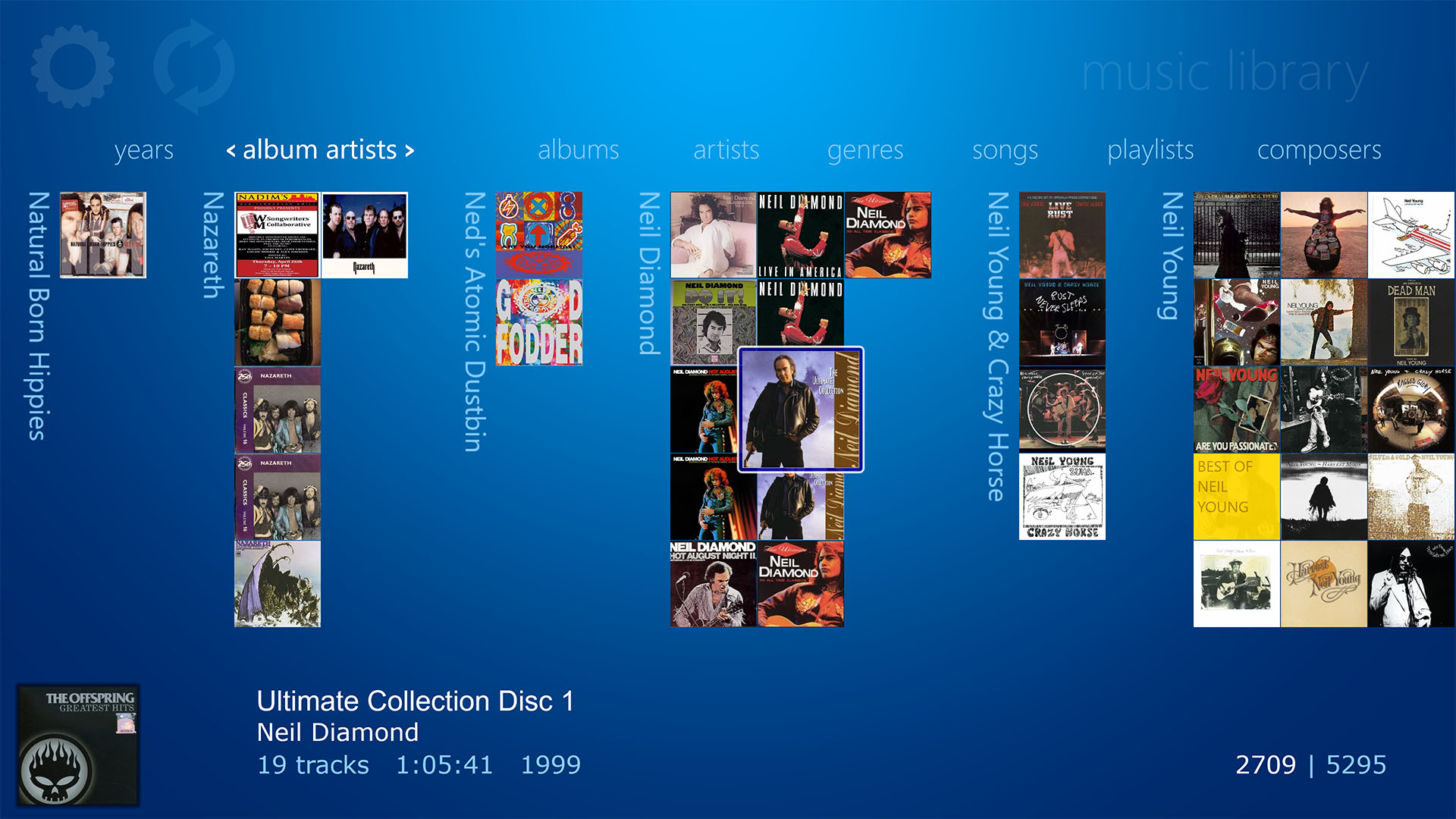 WMC style Music Library displaying all Albums by Artist