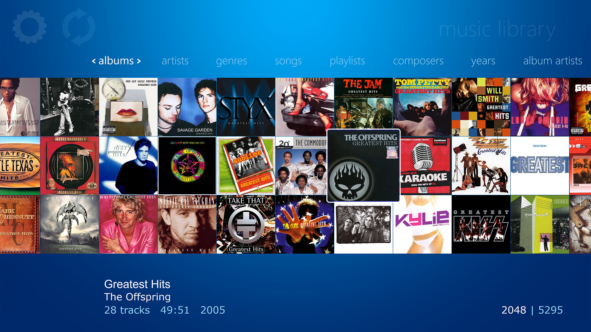 WMC style Music Library displaying all Albums